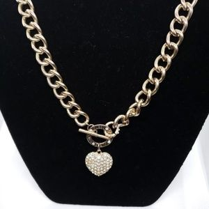 GUESS Gold Tone Chunky Chain & Crystal Heart Penda